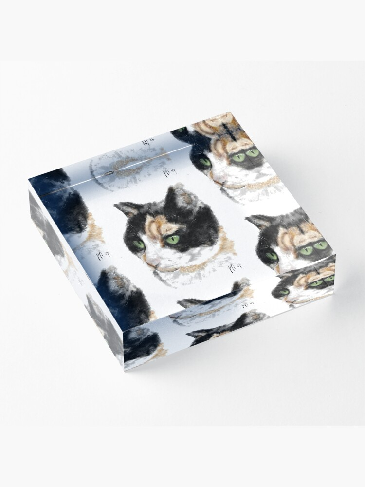 Alternate view of Serious Green Eyes Kittie Cat  Acrylic Block