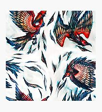 Majestic Flying Fantasy Phoenix Bird Pattern  Photographic Print