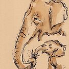 Snack Time:  Baby Elephant & Mama Watercolor Painting #13 by Rebecca Rees