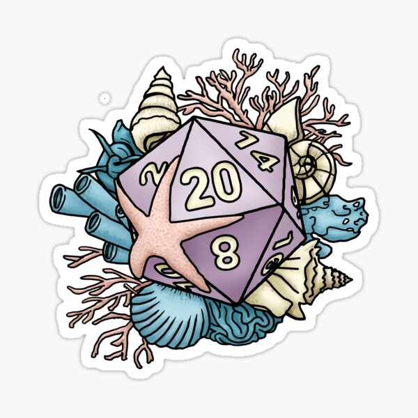 Mermaid D20 Tabletop RPG Gaming Dice  Sticker