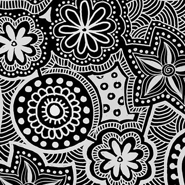 Abstract Black and White Ethnic Pattern by kbasandra