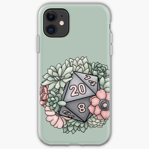 Succulent D20 Tabletop RPG Gaming Dice iPhone Soft Case