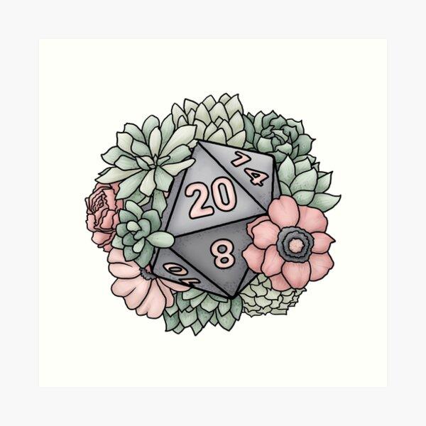 Succulent D20 Tabletop RPG Gaming Dice Art Print