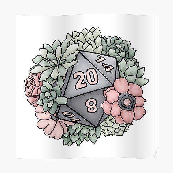 Succulent D20 Tabletop RPG Gaming Dice Poster