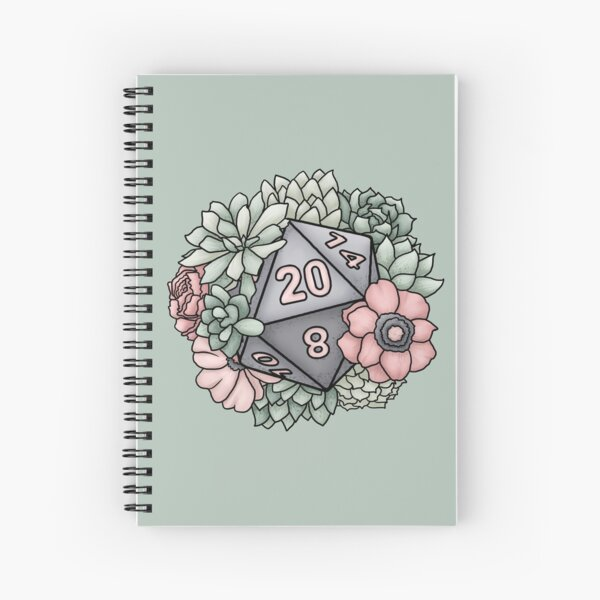 Succulent D20 Tabletop RPG Gaming Dice Spiral Notebook