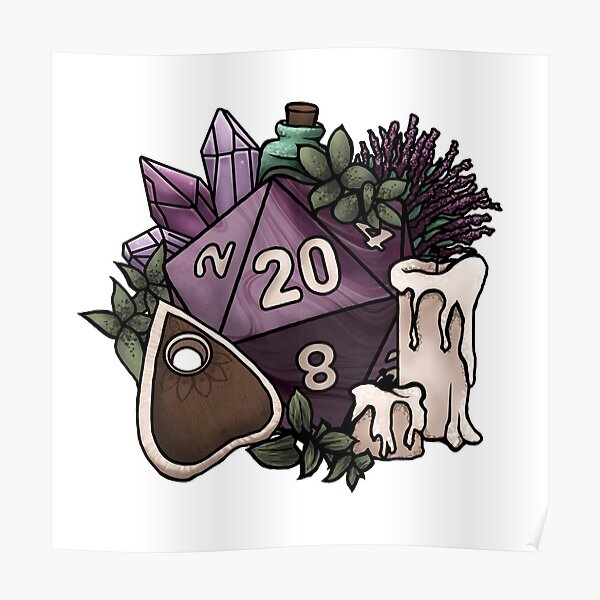 Witchy D20 Tabletop RPG Gaming Dice Poster