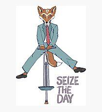 Seize the Day, Carpe Diem Hipster Fox Photographic Print