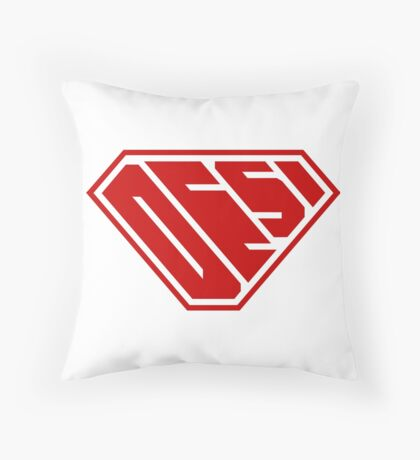 Desi SuperEmpowered (Red) Throw Pillow