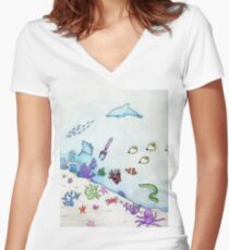 Sealife Women's Fitted V-Neck T-Shirt