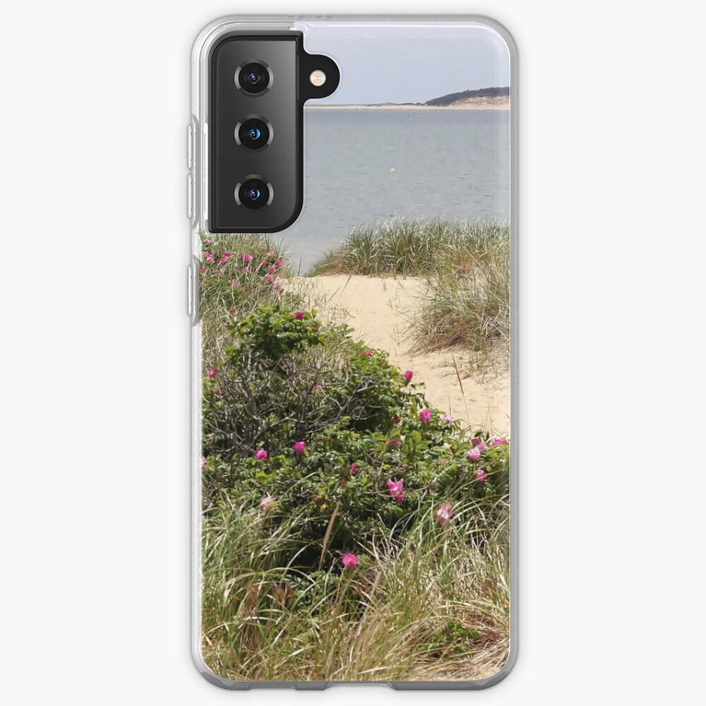 Beach path with beach plum roses in bloom Samsung Galaxy Phone Case