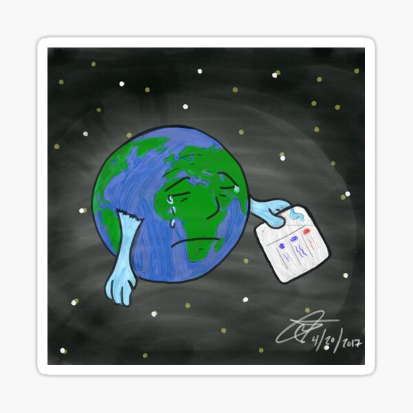 Social Media Sad Earth Sticker