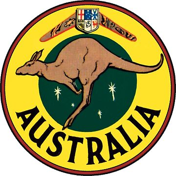 Australia Kangaroo Vintage Travel Decal by hilda74