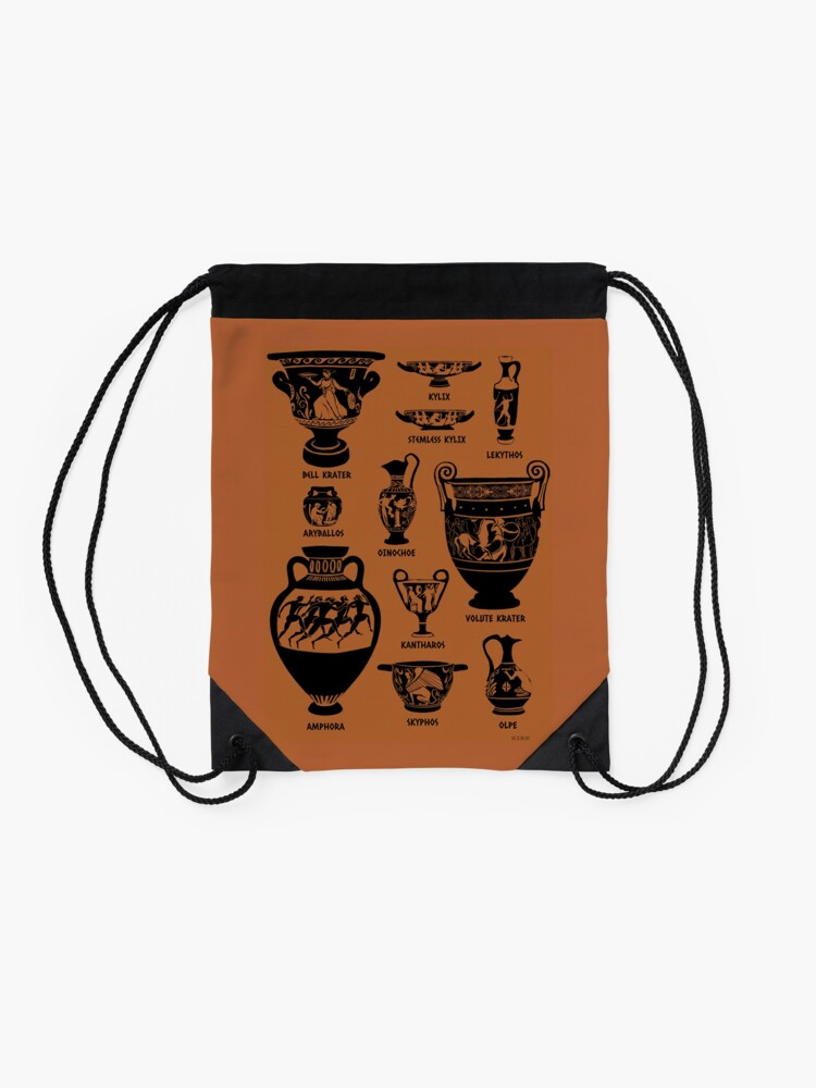 Alternate view of Ancient Greek Pottery Silhouette Drawstring Bag