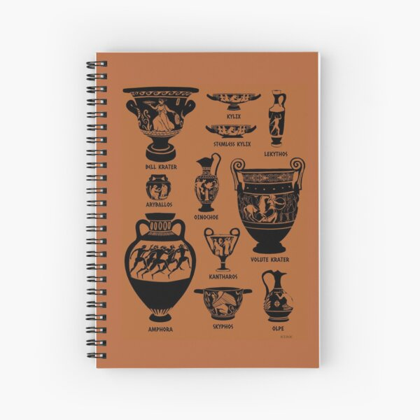 Ancient Greek Pottery Silhouette Spiral Notebook