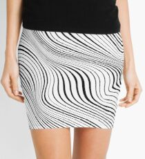 Warped Abstract Black Lines Mini Skirt