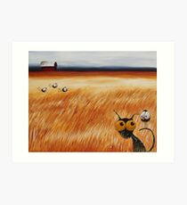 Stressie cat and the crows in the hay fields Art Print
