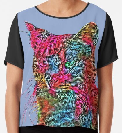 Artificial neural style Rose wild cat Chiffon Top