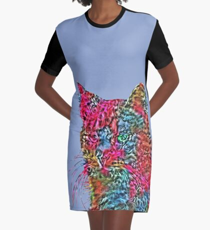 Artificial neural style Rose wild cat Graphic T-Shirt Dress