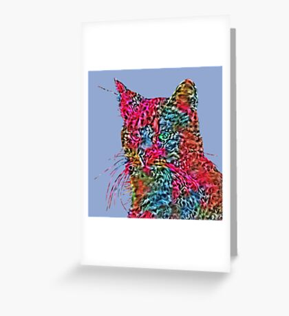 Artificial neural style Rose wild cat Greeting Card