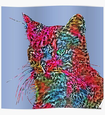 Artificial neural style Rose wild cat Poster