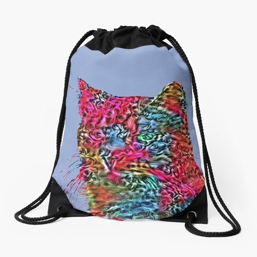 Artificial neural style Rose wild cat Drawstring Bag