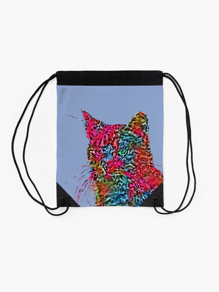 Alternate view of Artificial neural style Rose wild cat Drawstring Bag