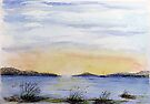 Island Sunset - Watercolour by Paul Gilbert