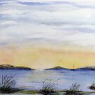 Island Sunset - Watercolour by Paul Gilbert