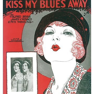 Vintage Sheet Music Songbook Cover Red Lips Kiss My Blues Away 1927 by AllVintageArt