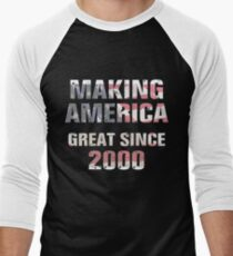 Making America Great Since 2000 - 18th Birthday Flag Tshirt Men's Baseball ¾ T-Shirt