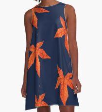 Sweet gum autumn leaf pattern A-Line Dress