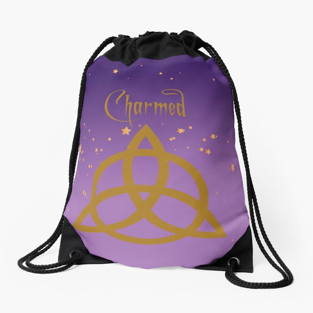 Purple Charmed Drawstring Bag