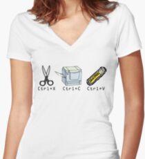 Cut, Copy, Paste Women's Fitted V-Neck T-Shirt