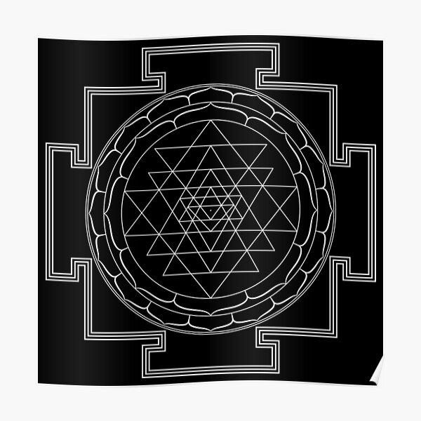 Sri Yantra Mandala (in white) Poster