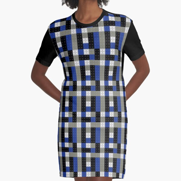 Bricks From Above - Grey and Blue Graphic T-Shirt Dress