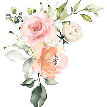 Pink Peach Watercolor Roses Arrangement by junkydotcom