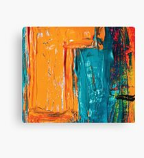 Acrylic abstract painting orange and blue Canvas Print