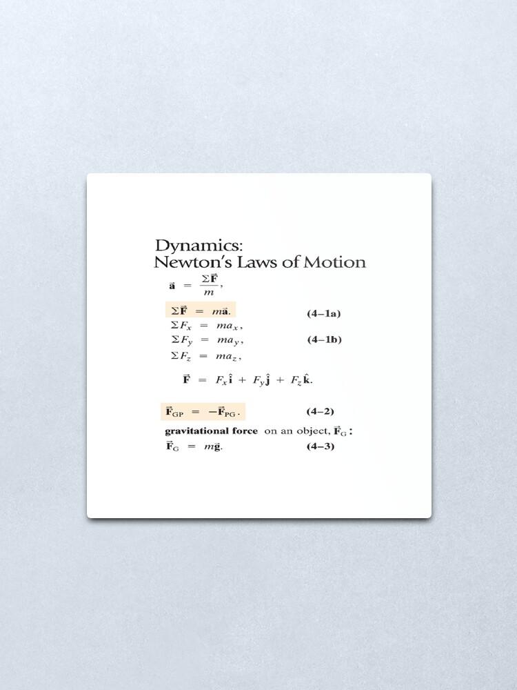Alternate view of Dynamics: Newton's Laws of Motion, #Dynamics, #Newton, #Laws, #Motion, #NewtonLaws, #NewtonsLaws, #Physics Metal Print