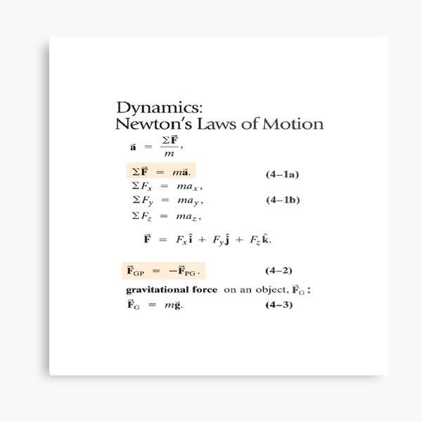 Dynamics: Newton's Laws of Motion, #Dynamics, #Newton, #Laws, #Motion, #NewtonLaws, #NewtonsLaws, #Physics Metal Print