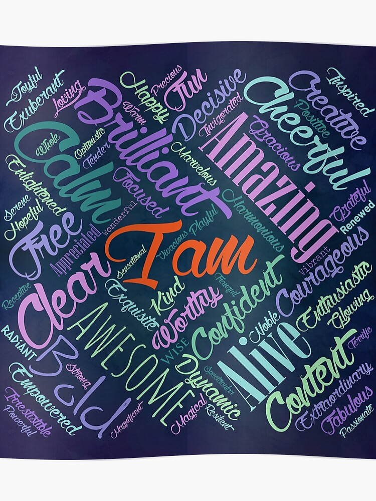 I am Affirmations Word Cloud Art | Poster