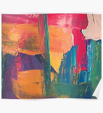 Abstract acrylic painting red, green, orange, purple Poster