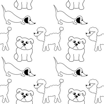 Repeating pattern with cartoon drawn dogs by SooperYela