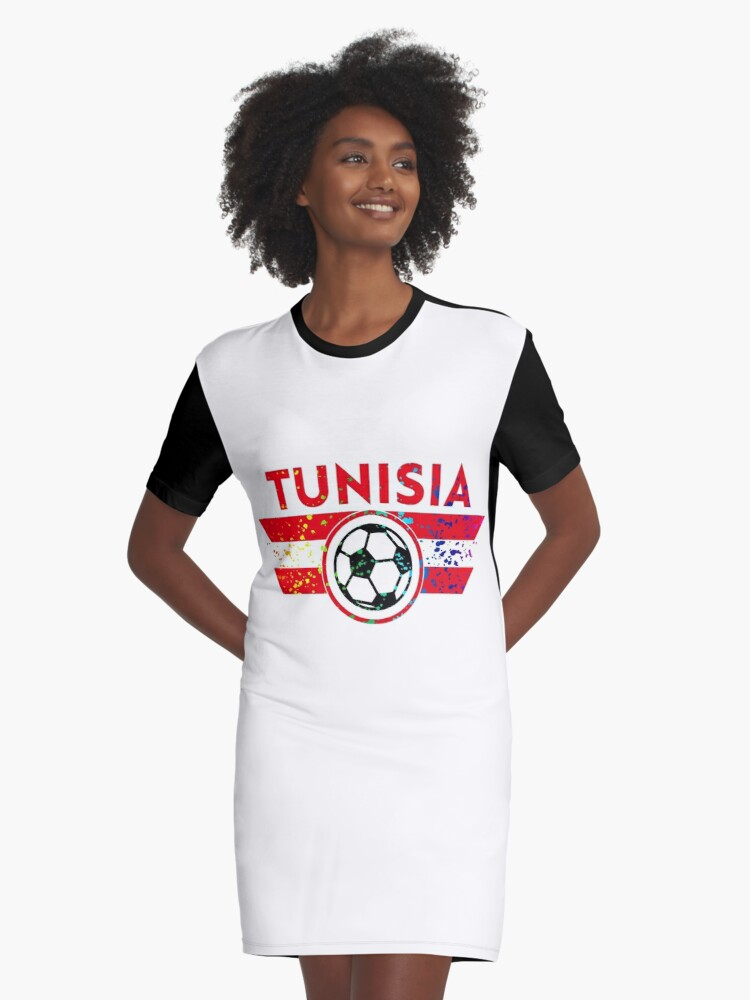 the best attitude 56289 3ed01 'Tunisia Soccer Jersey Shirt Football Paint Splatter' Graphic T-Shirt Dress  by 7United