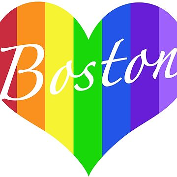 Boston Rainbow Heart by MightyFineGoods