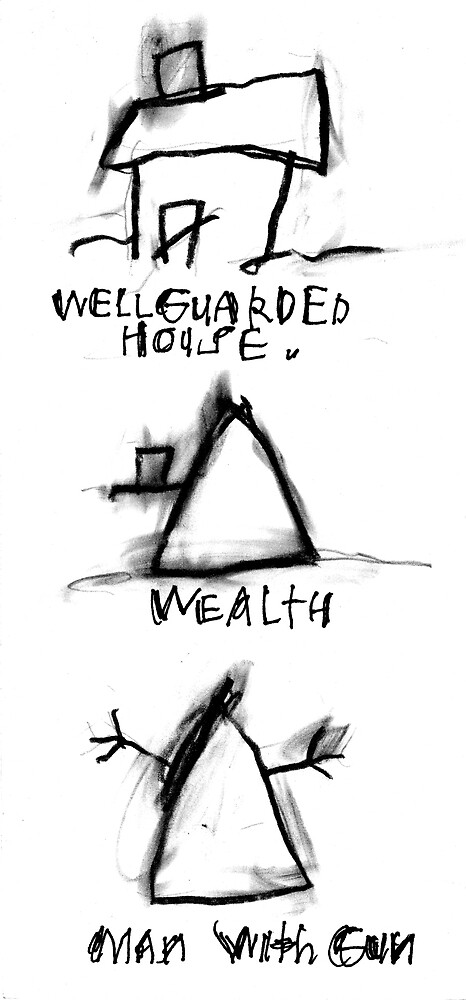 Well Guarded House, Wealth, Man With Gun by ReBecca Gozion