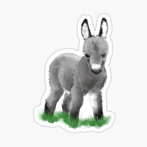 Bébé âne - Adorable poulain animal de la ferme moelleux Sticker