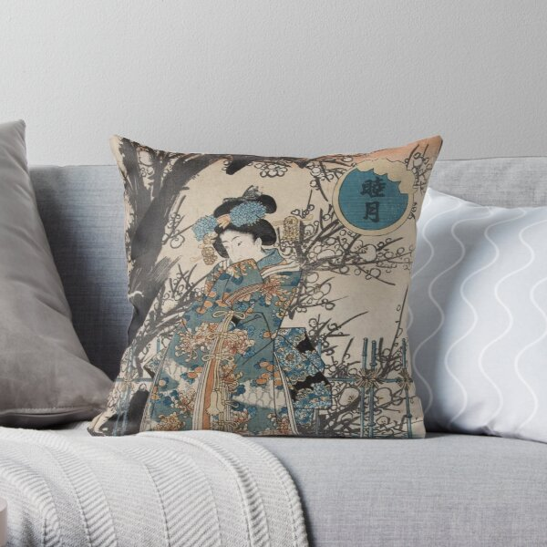 Classic Vintage Ukiyo-e Japanese Art Geisha Portrait Throw Pillow