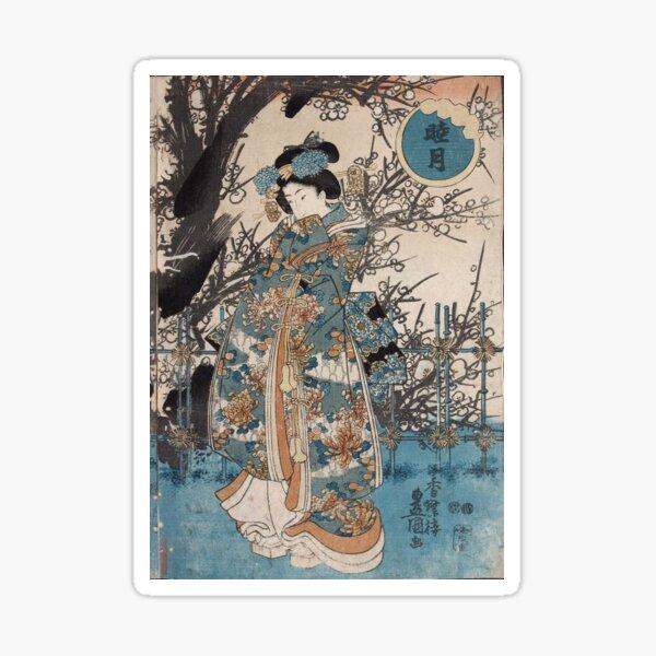 Classic Vintage Ukiyo-e Japanese Art Geisha Portrait Sticker