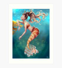 Lionfish Mermaid  Art Print