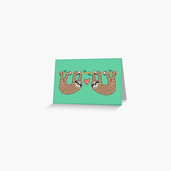 Sloth Couple Hanging Together Greeting Card